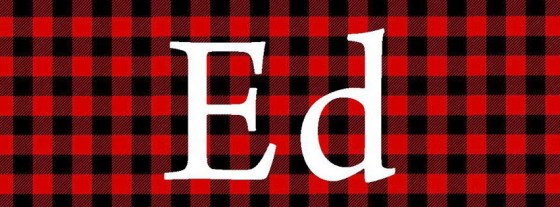 "Tribute graphic honoring Ed Reinke with ""Ed"" in white on a red and black plaid background."