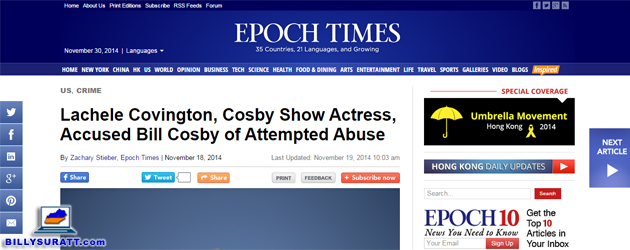"This Nov. 30, 2014 screen capture shows an erroneous Epoch Times story published Nov. 18, 2014 under the headline ""Lachele Covington, Cosby Show Actress, Accused Bill Cosby of Attempted Abuse."" Covington was an actress on ""Cosby,"" a CBS sitcom which ran from 1996 to 2000. ""The Cosby Show"" aired on NBC from 1984 to 1992."