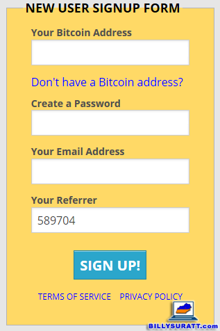 A screen capture showing the Free Bitcoin signup screen. (The referral code in the form is mine.)