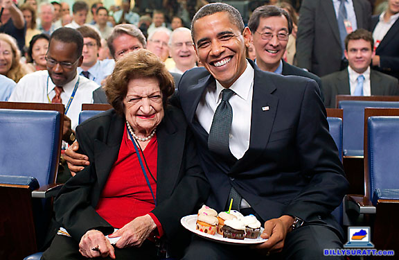 President Barack Obama presents cupcakes with a candle to Hearst White House columnist Helen Thomas in honor of her 89th birthday (shared with Obama's 48th birthday) on Tuesday, Aug. 4, 2009 in the Brady Press Briefing Room at the White House in Washington, D.C. Thomas died July 20, 2013 at age 92. (Apex MediaWire Photo by Pete Souza/White House)