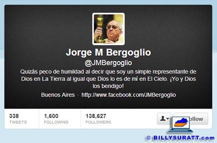 Screen capture showing the Twitter head of @JMBergoglio.