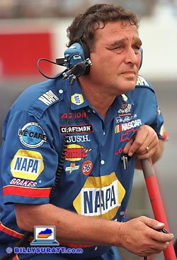 Engine builder David Vaseleniuck uses a stopwatch to clock Ron Hornaday Jr.'s NAPA Brakes Chevrolet during the 1998 Kroger 225 NASCAR Craftsman Truck Series race at Louisville Motor Speedway. Vaseleniuck's engine building skills helped Hornaday achieve six pole positions, seven wins and the 1998 Craftsman Truck Series points championship. (Copyright 1998 Billy Suratt)