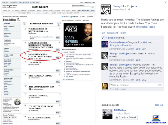 "Screen capture of post promoting ""Memphis Rocks"" on the Shangri-La Projects Facebook page."