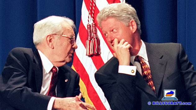 Democratic Senate Minority Whip Wendell Ford (left), then 73, chatted with President Bill Clinton before the president delivered a speech about curbing teen smoking on Thursday, April 9, 1998 at Carroll County High School in Carrollton, Ky. The event took place one day after tobacco companies pulled out of a proposed national legal settlement. An unapologetic longtime smoker himself, Ford died Jan. 22, 2015 at age 90 following a bout with lung cancer. (Photo © 1998 Billy Suratt/Apex MediaWire)